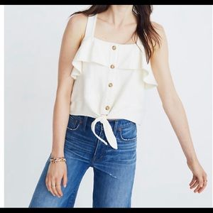 Madewell tie front ruffle tank. NWT!